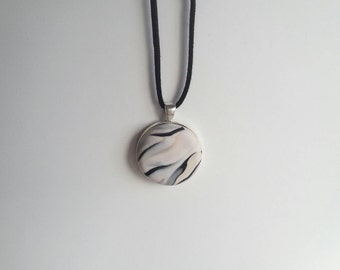 Marble monochrome polymer clay and silver pendant necklace scandi minimalist style