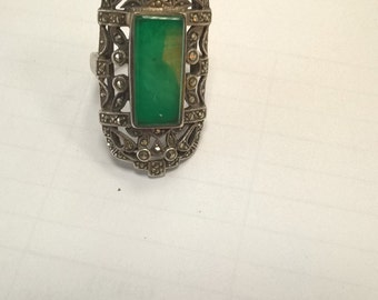 silver ring solid head of Minerva vintage