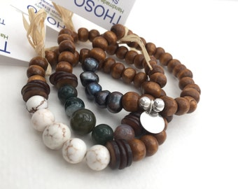 Three bracelets set, wood and Howlite stone(sand) ;wood , blue pearls and silver ;wood and Fancy Jasper stone(green)