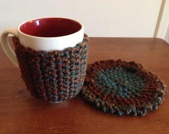 Crocheted Mug Hug and Matching Coaster