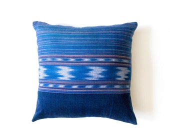 Ikat Pillow Cover - Ikat Cushion - Decorative Pillow - Blue Ikat Pillow - Hand Woven - 16 x 16 - Boho Pillow