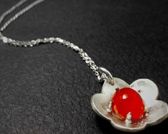 "Silver handmade necklace with Carnelian semi precious stone- ""Ηibiscus"""