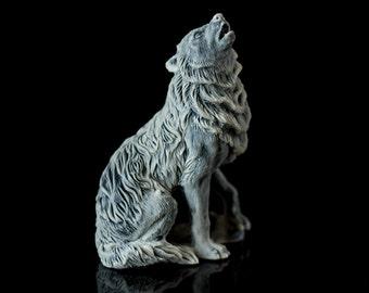 Marble Wild Animal Figurine Wolf Russian Art Handmade Statuette Home Decor Stone Figure