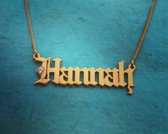 18k Gold plated Name Necklace / Gothic Name Necklace / Birthstone Pendant / Old English font Name Necklace / Vintage Style Name Pendant