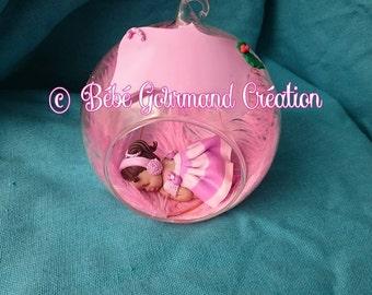 Christmas glass ball with baby fimo