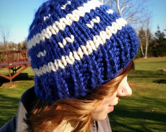 Deep Blue and Cream Fair Isle Chunky Knit Hat/Beanie