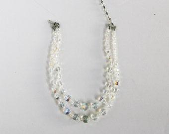 Vintage Two Strand Aurora Borealis Crystal Necklace