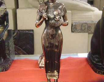 Large Egyptian Goddess Bast Statue  W/COPPER WASH Made In Egypt