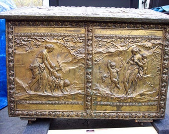 Antique Hand-Hammered Brass and Wood Chest