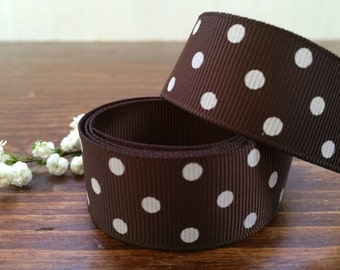 "7/8"" Brown Grosgrain Ribbon White Dots - Hair Bow - Chocolate Ribbon - Polka Dots - 5, 10, 25, 50 yards - HBC101010-578W50850"