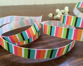 "3/8"" Flower Power Stripes Grosgrain Ribbon -  Bright Striped Ribbon - Rainbow Ribbon - Spring Crafts - 2, 5, 10 yards - HBC101013-03810029"