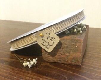"""3/8"""" x 25yrd Jute Ribbon - Natural Burlap Ribbon - DIY Wedding Ribbons - HI596-02"""