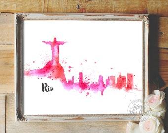 Rio de Janeiro skyline, 2016, Brazil cityscape, printable watercolor wall art, home decor, poster, Rio print, Rio cityscape, Rio 2016, 8x10