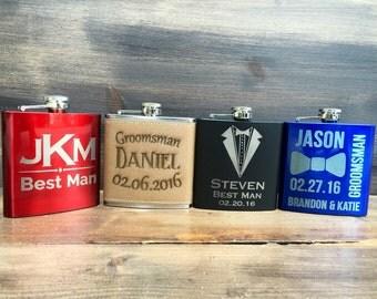 Set of 10 Groomsmen Flasks, Personalized 10 Engraved Groomsman Flasks, Personalized Groomsman Flasks Wedding Party Flask, Best Man Flask, Hi