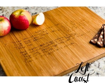 Custom Handwriting Personalized Cutting Board Recipe Kitchen Decor Wedding for Her Him Anniversary Family Cook Engraved
