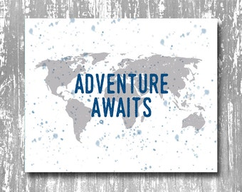 adventure awaits art print, adventure awaits printable, adventure art print, adventure art, adventure printable, inspirational art print