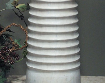 Hand Carved Solid Wood Laucala Vase