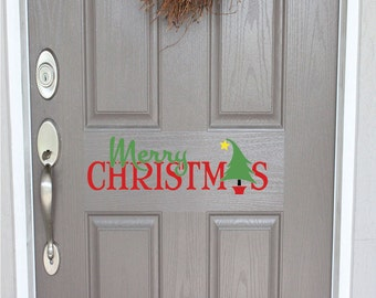 Merry Christmas Door Decal | Outdoor Christmas Decor | Front Door Decal | Front Door Christmas Decal | Christmas Decal | Christmas decor