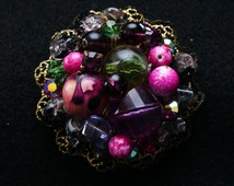 Very Early Miriam Haskell Beaded Brooch