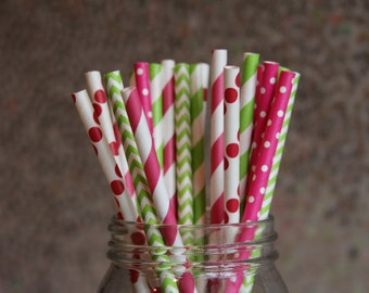 Pink and Lime Green Themed Paper Straws/Paper Drinking Straws/Themed Party Straws/Fuchsia Straws/Lime Green Straws