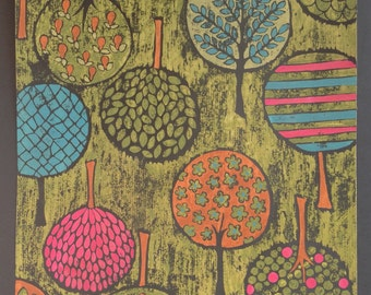A  1950's Vintage printed tree design for textiles or wallpaper