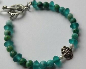 Teal Treasure- glass and semiprecious stone bracelet