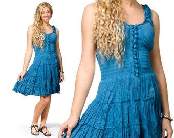 Smocked Peasant Dress - Blue - 3093B