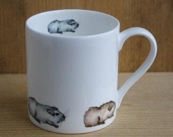 Guinea Pig Mug - Fine China Guinea Pig Train Design