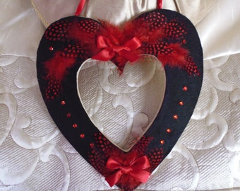 Valentine Gift For Her Girlfriend/Wife, Love Heart With Feathers and Gems, Unique and Unusual Valenties Gift Idea