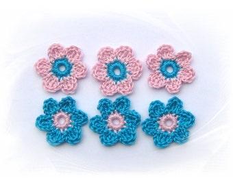 6 crochet flowers, Flower Appliqué, crochet, crochet, flower patches, crochet flower