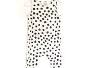 Tank harem romper, Pull on Romper, 100 % organic cotton jersey, dots