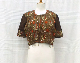 Indian embroidered Bolero, bolero with short sleeves, little Indian jacket, Indian clothing for women, Indian Crafts
