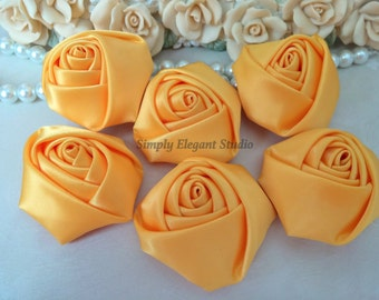 "1.8"" Golden Yellow Satin Roses, 3 Vintage Rolled Fabric Rosettes, Baby Headband Flowers, Flower Supply"