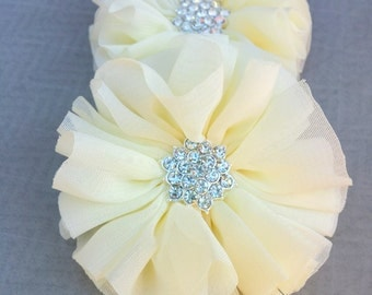 "Ivory Chiffon Flower, 2.5"" Fabric Flower, Rhinestone Ruffled Flower, Flower Supply"