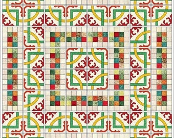 "Mediterranean Tile quilt Pattern - 70"" x 70"" finished size"
