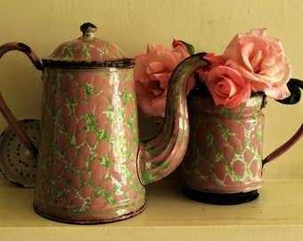 Tall Antique Large French Enamelled Coffee Pot