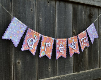 Dream Purple and Orange Paisley Floral Banner Girls Dorm Room Nursery Decor Baby Shower Gift Decoration