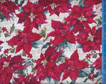 Poinsettia Holly Cotton Fabric Home Decor Quilt or Craft