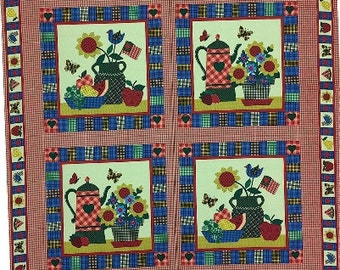 Americana Gingham Kitchen Vase Flowers Fabric Panel Pillow, Wall hanging