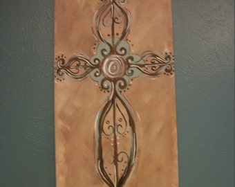 Original Acrylic Painting of Blue and Brown Cross on Tan Canvas