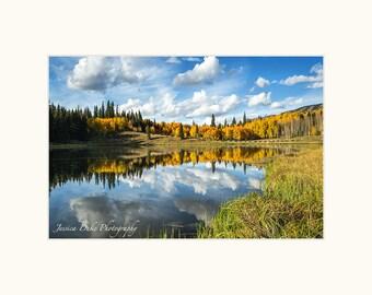 Reflections, Aspens, Fall Colors, Lake, Fine Art Photography, Nature Photography, Southwest Art, Colorado, Tree Photography, Fall Aspens