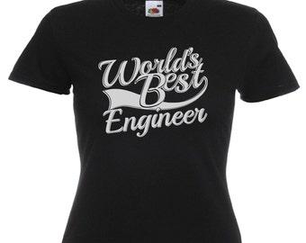 World's Best Engineer Gift Ladies Womens Black T Shirt Sizes From UK size 6 - UK size 16