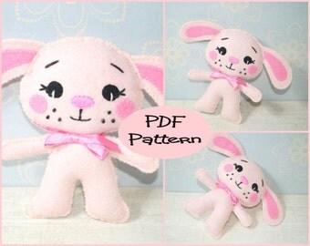 PDF Pattern - Little Bunny, Felt Doll Pattern, Easter Bunny, Felt Plush, Rabbit Toy, Felt Animal, Doll Tutorial, Easter Toy, Easter Plush,