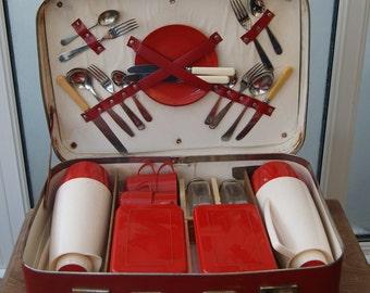 Vintage 1950s Retro Four Person or Settings Red & Cream Plastic Picnic Set in Original Hard Carry Case