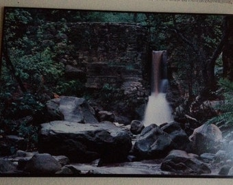 Waterfall and rocks photo print mounted and framed