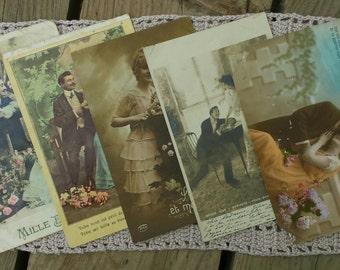 Lot of 5 cards postcards love vintage