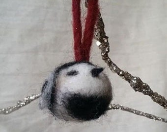 Lofty Lulu (Felted chickadee lavender scented ornament)