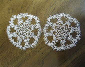 Two Handmade 5 Inch Tan Tatted Doilies