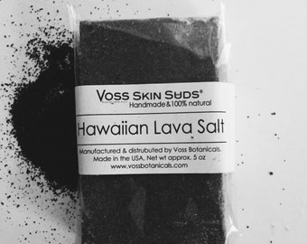 Sea Salt Soap | Hawaiian Black Lava - Charcoal Soap | Exfoliating Salt Bar | Cold Process Soap | Spa Soap | Detox | Vegan | Mineral Rich