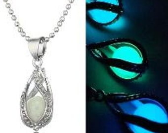 Glow in the dark pendant necklace - touched by pixie dust or a mermaid's tear